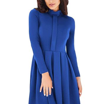 Lace Hemline Detail Royal Blue Long Sleeve Skater Dress