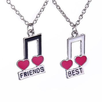 Elegant Musical Notes Hearts Shaped Necklaces Best Friends For Girls Friends Witness Love Forever Friendship Set Necklace Gift