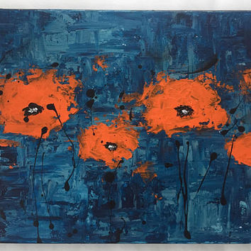 Abstract Poppy Flower Acrylic Painting