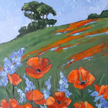 Impressionist Painting Plein Air California POPPIES &LUPINE Landscape Lynne French 16x20