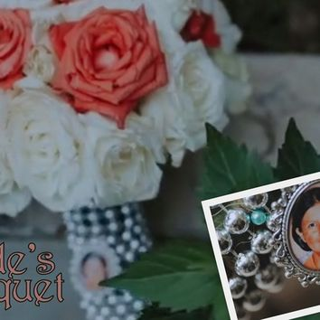 customized wedding bouquet or boutonniere photo charm, personalized memorial resin cabochon pendant