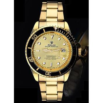 Rolex tide brand fashion men and women fashion watches F-SBHY-WSL Gold + Black Case
