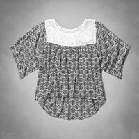 pattern lace drapey top