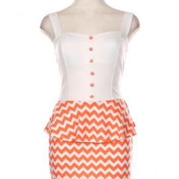Sweet & Sassy Chevron Print Bow Back Peplum Dress in Coral | Sincerely Sweet Boutique