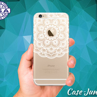 White Floral Flowery Mandala Art Cute Clear Transparent Rubber Case For iPhone 5, iPhone 5C, iPhone 6, iPhone 6+, iPhone 6s Plus, iPhone 6s+