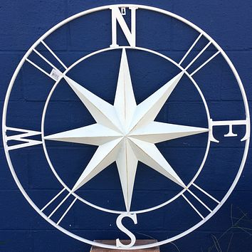 Jumbo Metal Wall Art Rose Compass - 39-in Vintage White