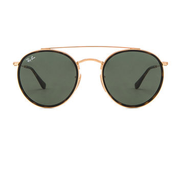 Ray-Ban Round Double Bridge in Gold & Green Classic