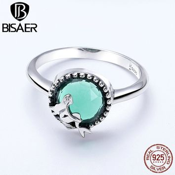 Silver Ring Authentic 925 Sterling Silver Ocean Blue Crystal Amazing Mermaid Women Finger Ring Sterling Silver Band Gift HSR361