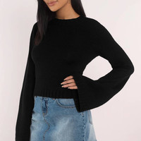 Jeannie Lace Up Crop Sweater
