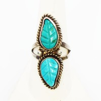 Navajo Sterling Silver & Carved Turquoise Leaves Ring, Handwrought Shank, Native American Indian, Size 8, Vintage 1960s 1970s Tested 925