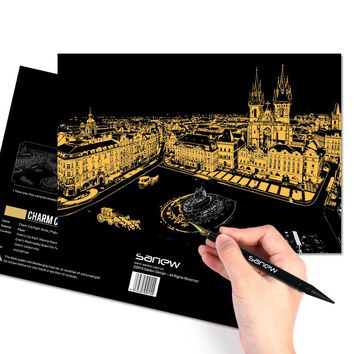 Direct Selling Scraping The Painting City Night Landscape Handmade Diy Adult Children's Educational Toys Scratch Paper