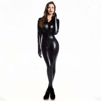 CREYCI7 Plus XXL Size Wome's 2way zipper Faux Leather Catsuit Clubwear DS Latex Cat Women With Gloves Fancy Costume Jumpsuit