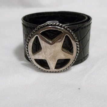 Black, Leather Look Slap Bracelet. Silver Colored Star Embellishment, One Size Fits Most, NOS, Never Worn