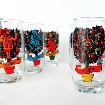All Twelve Days of Christmas Vintage Drinking Glasses - Complete Set