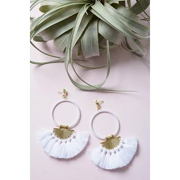 Bohemia Tassel Fan Hoop Earrings - White