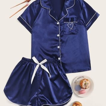 Heart Embroidered Satin Pajama Set