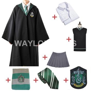 Cool Free Shipping Slytherin Cosplay Robe Cloak Pullover Sweater Shirt Skirt Tie Badge Scarf          for Harri Potter CosplayAT_93_12