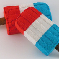 Felt Food Red, White and Blue Freezer Pops WOOL BLEND