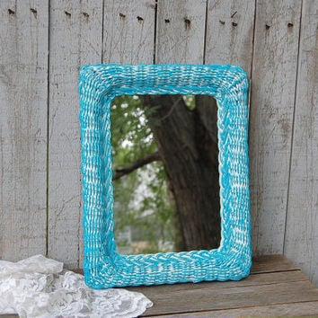 Mirror, Shabby Chic, Turquoise, White, Wicker Mirror, Beach Decor, Upcycled, Painted Mirror