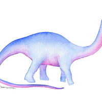 Apatosaurus Dinosaur Watercolor Painting - 5 x 7 - Dinosaur Art - Kids Room - Giclee Print - Nursery Art