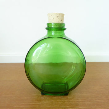 Antique green glass Sunsweet Prune juice bottle with new cork, ready to use