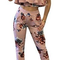 Gamery Women's Sexy Floral Ruffles Off Shoulder 2 Pieces Outfits Long Jumpsuits Rompers