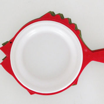 Vintage Paper Plate Holders Fish Shaped Paper Plate Holder RetroFish Paper Plate Holders Picnic Paper Plate Holders-Retro Plastic Ware