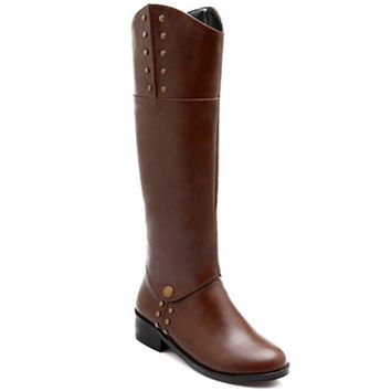 Fashionable Women's Boots With Rivets and Solid Colour Design