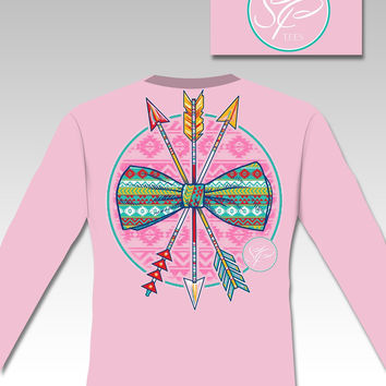 Sassy Frass Aztec Arrows Bow & Arrow  Long Sleeve Bright Girlie T Shirt