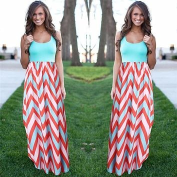 Women Summer Beach Boho Maxi Dress 2016 High Quality Brand Striped Print Long Dresses Feminine Plus Size