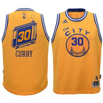 Youth Golden State Warriors Stephen Curry Gold Swingman Basketball climacool Jersey