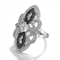 Bling Jewelry Great Gatsby Inspired Black White Vintage Style CZ Armor Ring | Bling Jewelry