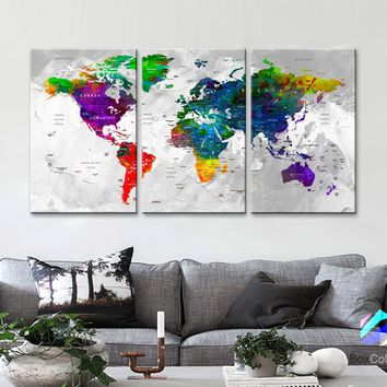 "LARGE 30""x 60"" 3panels 30x20 Ea Art Canvas Print Watercolor Map World Push Pin Travel M1812"