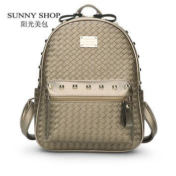 SUNNY SHOP  Revits Women Backpack Casual Korean School woven Backpack Small Women Bag Fresh teenager bag Rucksack Haversack