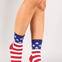 American Flag Printed Socks