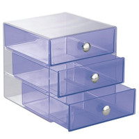 InterDesign 3 Drawer Storage Organizer for Cosmetics, Makeup, Beauty Products and Office Supplies, Purple