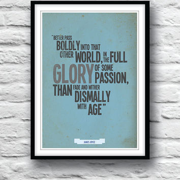 Quote Poster, James Joyce, Dubliners, Wall Decor, Inspirational poster, Typography poster, Minimalist