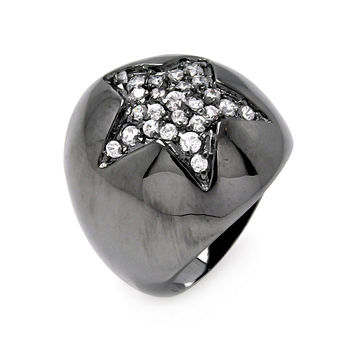 Black Rhodium Plated Brass Star Clear Pave Set Cubic Zirconia Dome Ring: Size:5