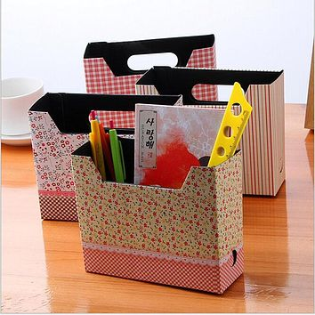 Hot 1pc Modern Utility High Quality Desk Organizer Makeup Cosmetic Storage Boxes Gifts Stationery DIY Cartoon Paper Board Box