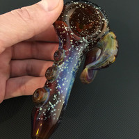 Amber Glass Silver Fumed Starry Night Tobacco Space Pipe with Carved Lokis Horns