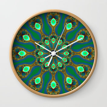 Fractal jewel mandala Wall Clock by Natalia Bykova