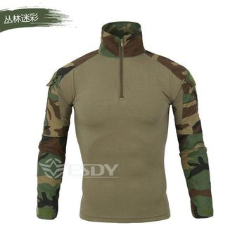 Hiking Shirt camping Khaki Gray Camouflage Long Sleeve Army Training Tactical Shirt With Elbow Knee Pads Male Outdoor Cycling Climbing Hunting Tops KO_17_1