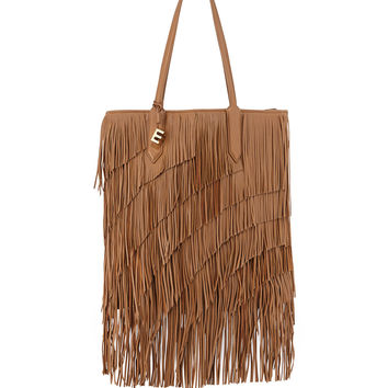 Scott Fringed Leather Tote Bag, Camel - Elizabeth and James