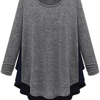 Scoop Neck Chiffon Splicing Knitwear