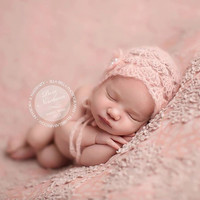 Delicate Powder Pink Mohair Bonnet, photography prop, newborn, baby, girl, pink