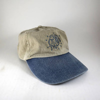 Love Geography Beige 90's Dad Hat // Embroidered Planet Earth Baseball Cap