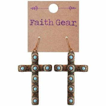Womens CROSS Copper Crosses Mixed Metal Earrings
