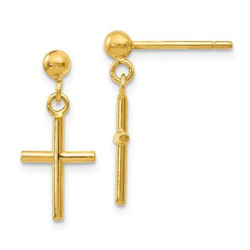14k Yellow Gold Polish Cross Post Drop Earrings