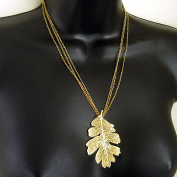 Gold plated necklace vintage oak leaf pendant by LogicFreeDesign