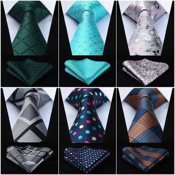ONETOW Polka Dot Check Floral 3.4' Silk Woven Men Tie Necktie Handkerchief Set #G7